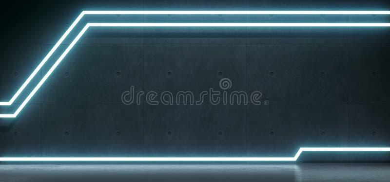 Realistyczny Betonowy pokój Z Nowożytnymi Kreskowymi Neonowymi światłami ilustracja wektor