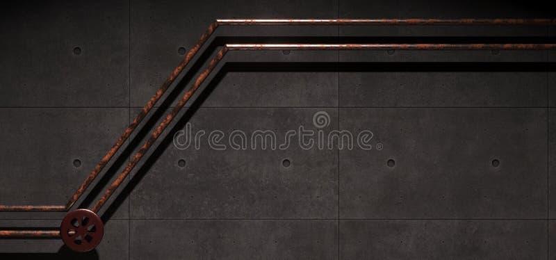 Realistyczny Betonowy Przemysłowy pokój Z Rdzewieć metal drymbami royalty ilustracja