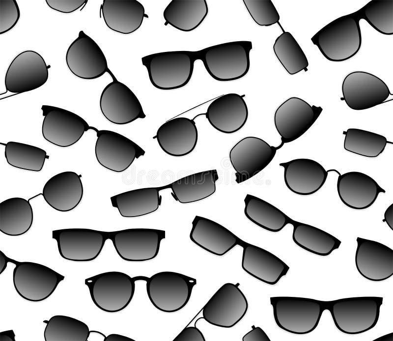 Realistyczny bezszwowy wektorowy tło ciemny sunscreen przeciw pozafioletowym mod szkłom Akcesorium dla głowy w a royalty ilustracja
