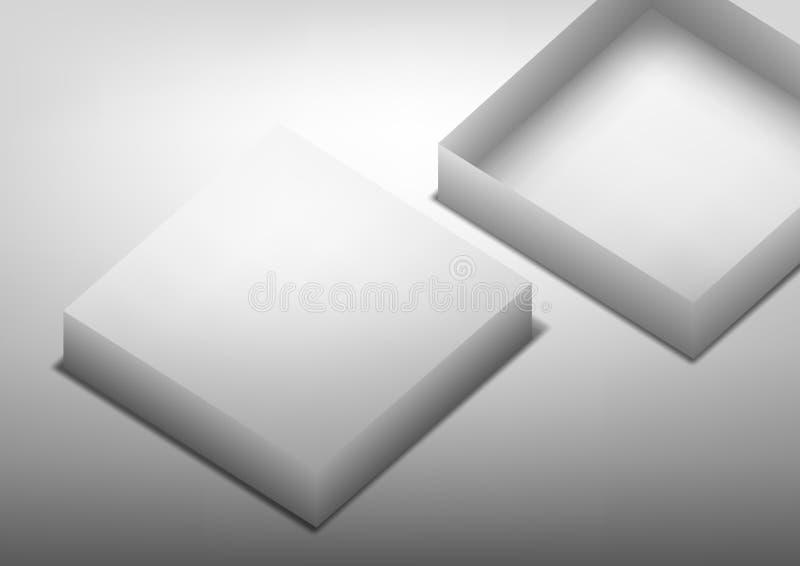 Realistyczny Białego pudełka Mockup Na Czarnym tle Oznakuje szablon royalty ilustracja