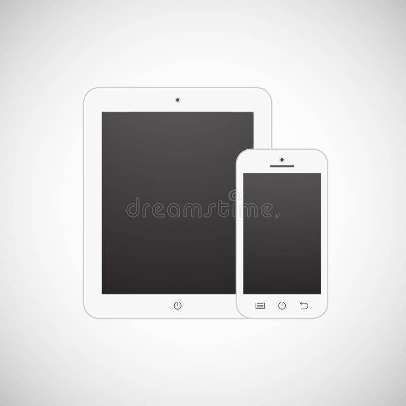 Realistyczny biały pastylka komputer, telefon komórkowy i ilustracji