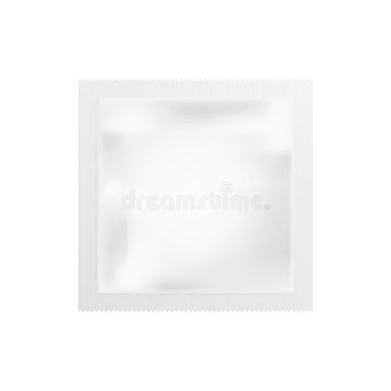 Realistyczny Biały Pusty szablon Pakuje folii mokrych wytarcia Karmowego kocowania kawa, sól, cukier, pieprz, pikantność, cukierk ilustracji