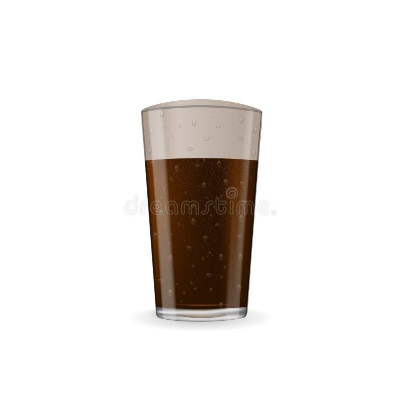 Realistyczny ciemny piwo z pianą przy szkłem royalty ilustracja