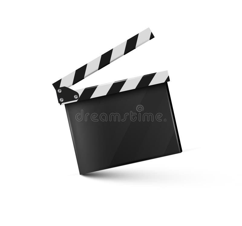 Realistyczny clapper Na biały tle Film Czas również zwrócić corel ilustracji wektora zdjęcia stock