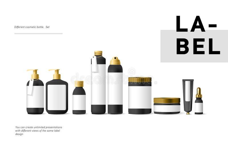 Realistyczny czarny kosmetyczny kremowy zbiornik i tubka dla śmietanki, maść, pasta do zębów, płukanka egzaminu próbnego up butel royalty ilustracja