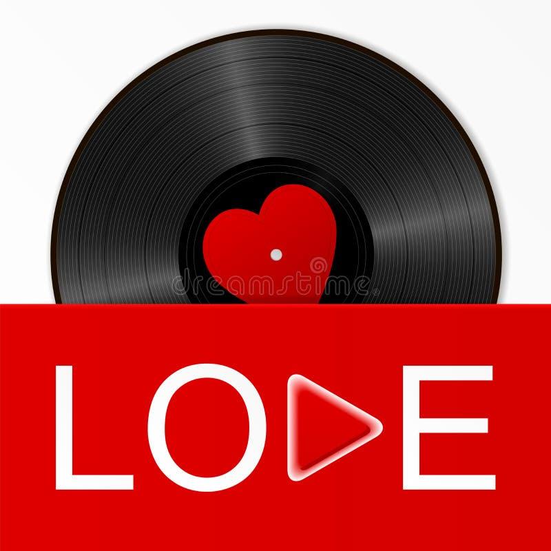 Realistyczny Czarny Winylowy rejestr z czerwoną kierową etykietką w jaskrawej pokrywie z słowo miłością i sztuka zapinamy Retro R ilustracji