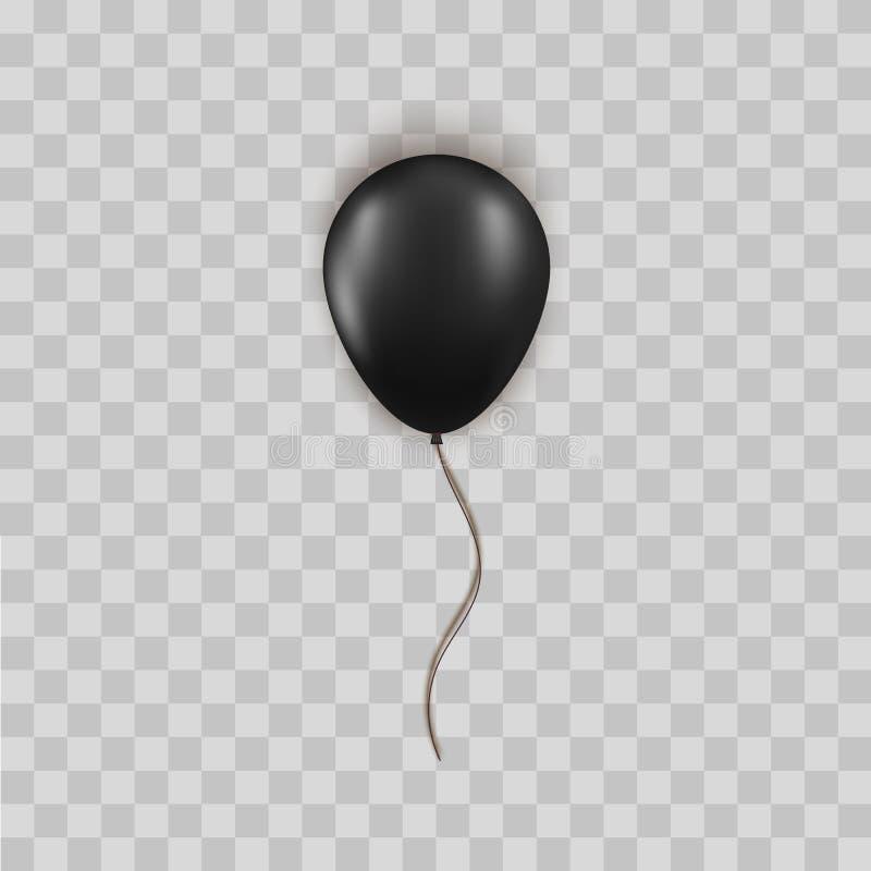 Realistyczny czerń balon odizolowywający na przejrzystym tle Wektorowy element dla urodziny lub Black Friday sprzedaży powitania ilustracja wektor