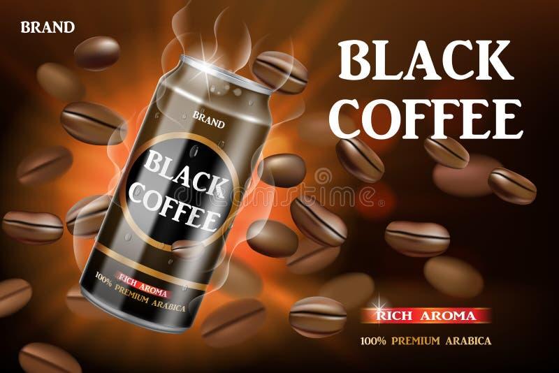 Realistyczny czerń konserwował kawę z fasolami wiruje wokoło Produktu napoju kawowy projekt z bokeh tłem Wektor 3D royalty ilustracja