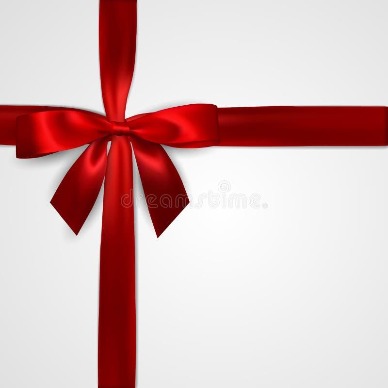Realistyczny czerwony łęk z crosswise czerwonymi faborkami odizolowywającymi na bielu Element dla dekoracja prezentów, powitania, ilustracji