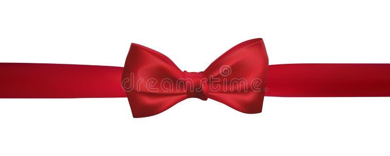 Realistyczny czerwony łęk z horyzontalnymi czerwonymi faborkami odizolowywającymi na bielu Element dla dekoracja prezentów, powit ilustracji