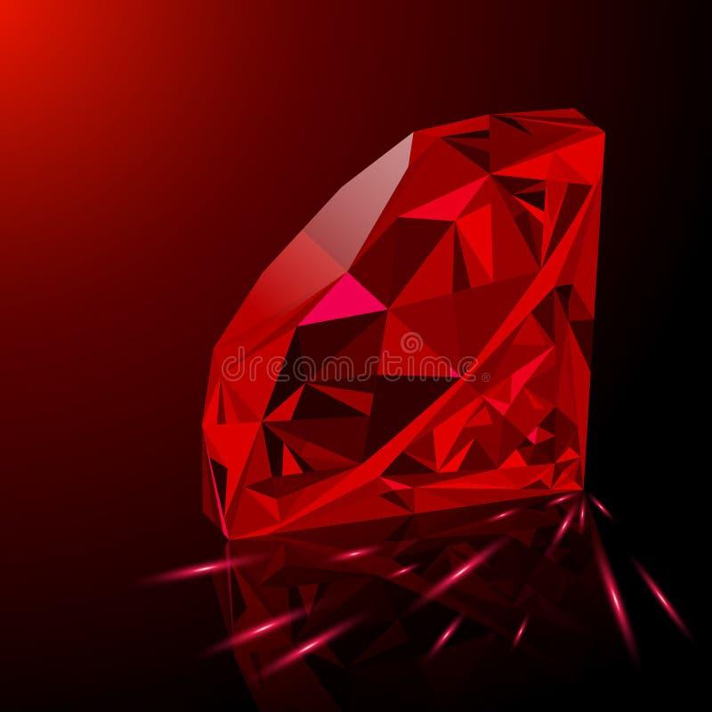 realistyczny czerwony rubin odizolowywaj cy na czarnym tle. Black Bedroom Furniture Sets. Home Design Ideas