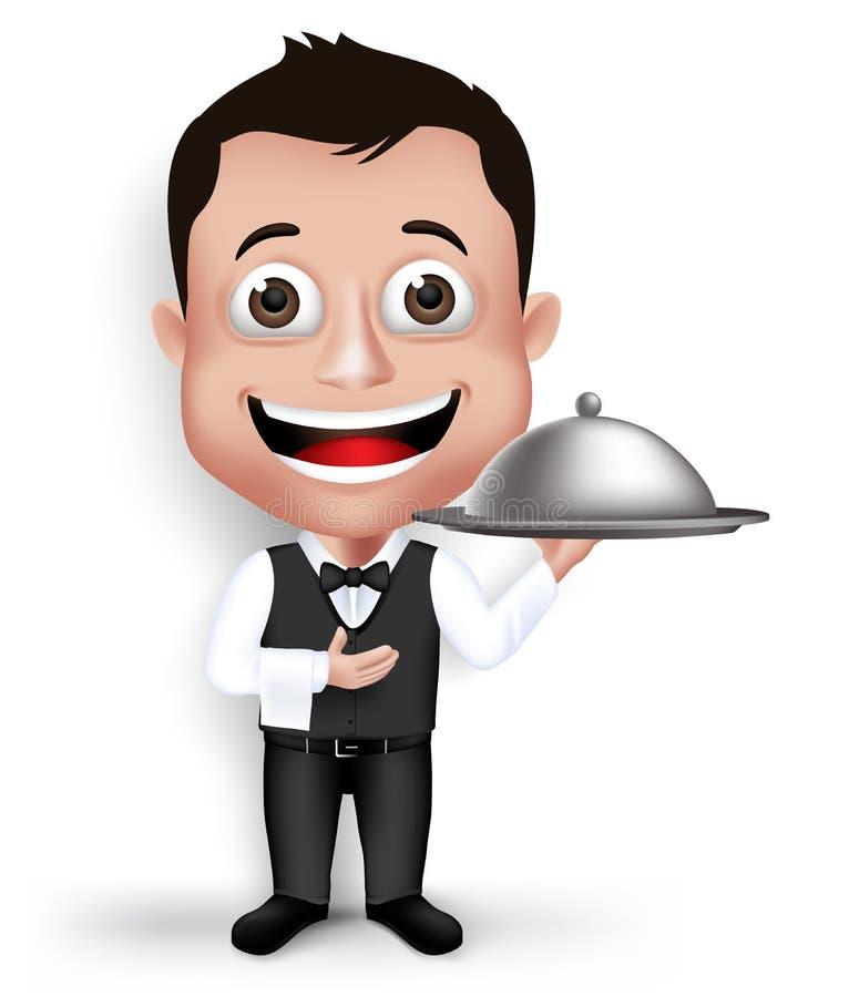 Realistyczny 3D Młody Życzliwy Fachowy kelner ilustracja wektor