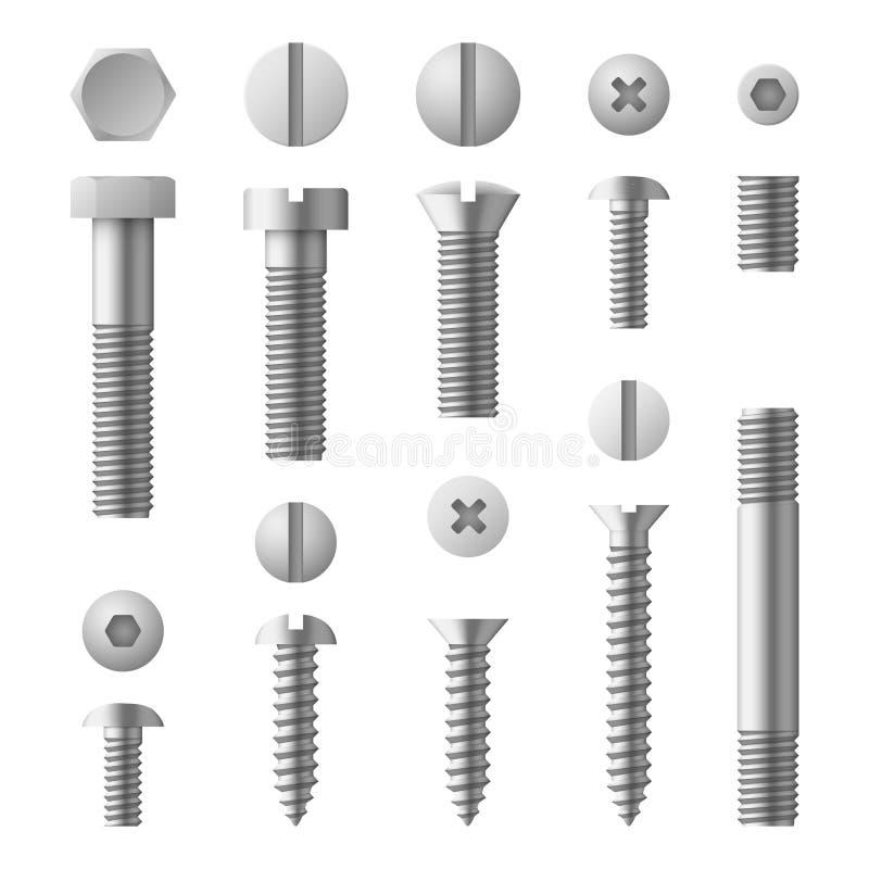 Realistyczny 3d metal czmycha, dokrętki, nity i śruba odizolowywający wektoru set, ilustracja wektor