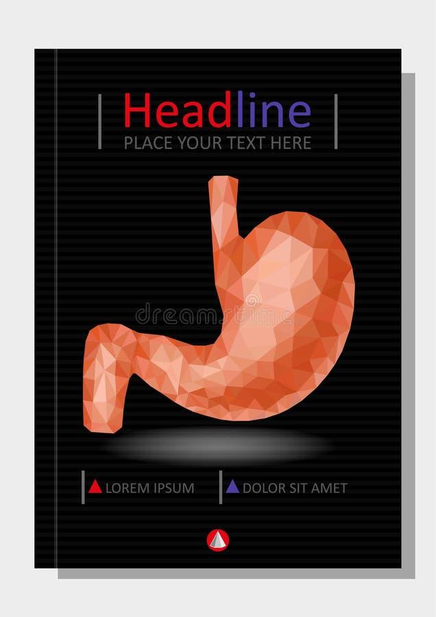 Realistyczny 3d niski poli- ludzki żołądek i dwunastnica Zdrowy przegląd ilustracji