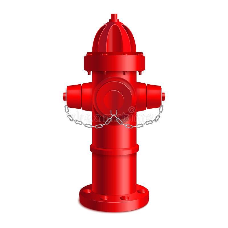 Realistyczny 3d Szczegółowy Czerwony Pożarniczy hydrant wektor royalty ilustracja