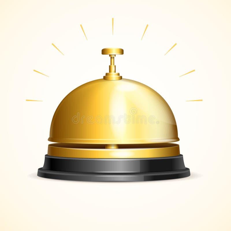 Realistyczny 3d Wyszczególniał Błyszczącego Kruszcowego Złotego przyjęcie Bell wektor ilustracji