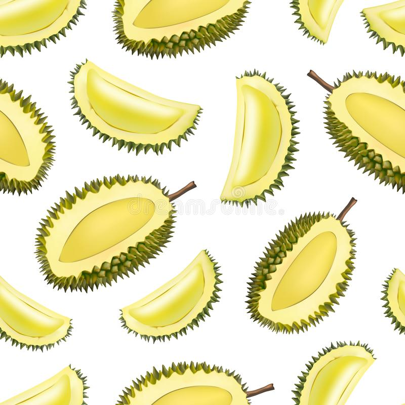 Realistyczny 3d Wyszczególniał Owocowego Durian Bezszwowego Deseniowego tło wektor ilustracji