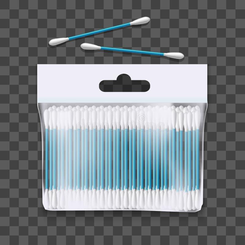 Realistyczny 3d Wyszczególniający bawełna pączków pakunek wektor royalty ilustracja