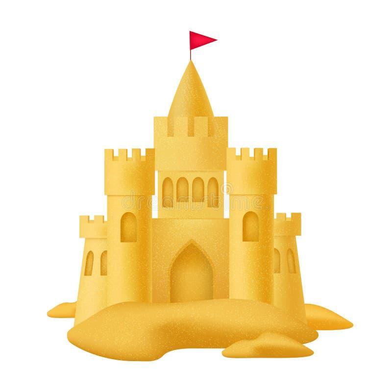 Realistyczny 3d Wyszczególniający piaska kasztel z flagą wektor royalty ilustracja
