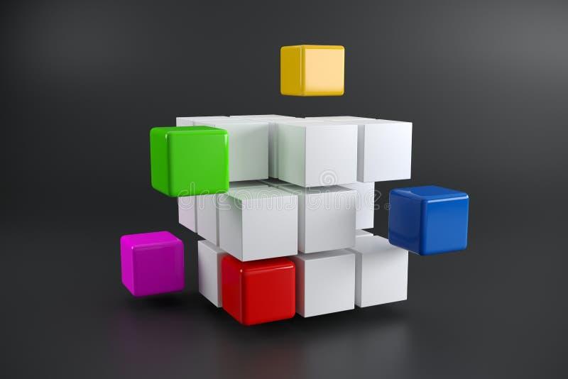 Realistyczny Demontujący sześcian Z Kolorowymi Małymi sześcianami Na boku Dalej ilustracja wektor