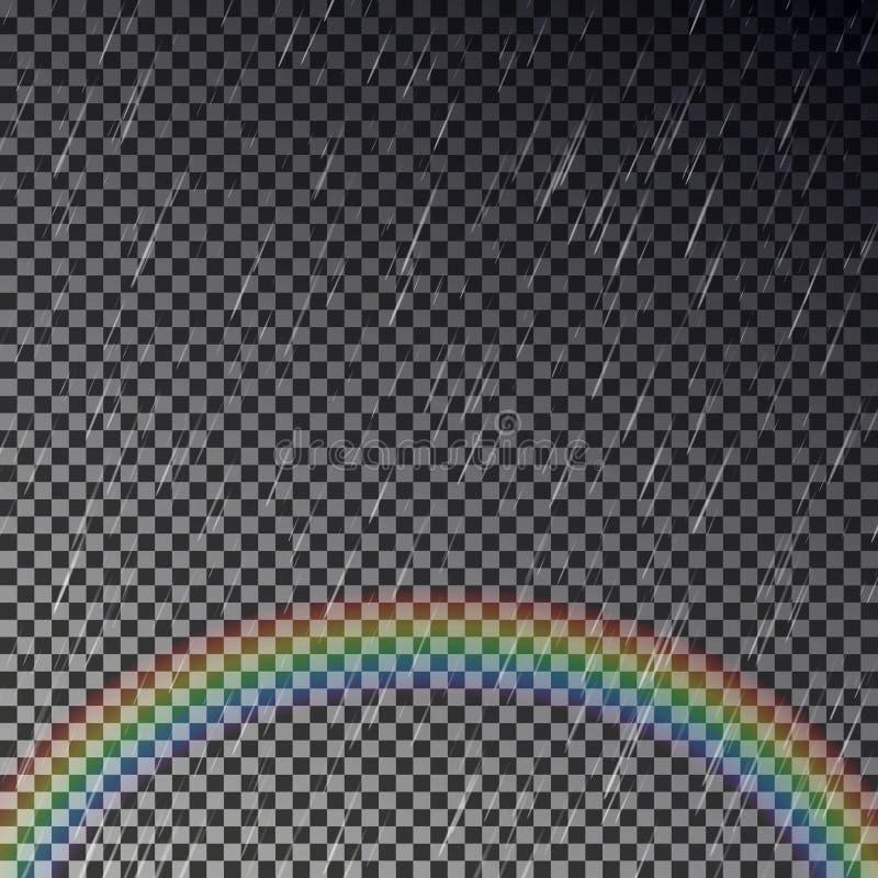 Realistyczny deszcz z tęcza przejrzystym skutkiem ilustracja wektor