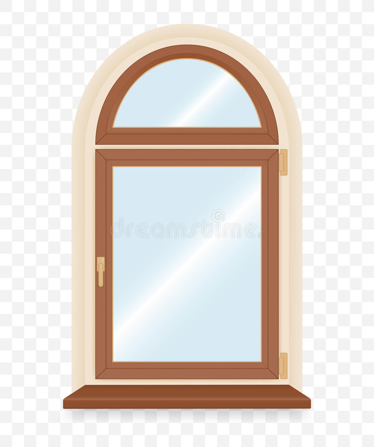 Realistyczny drewniany plastikowy okno royalty ilustracja