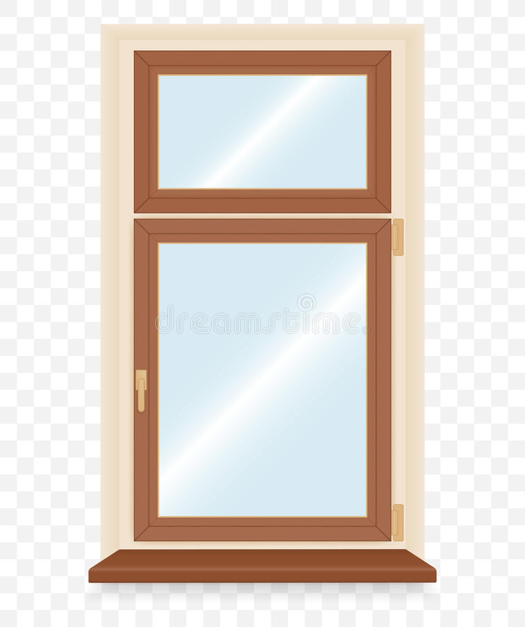 Realistyczny drewniany plastikowy okno ilustracja wektor