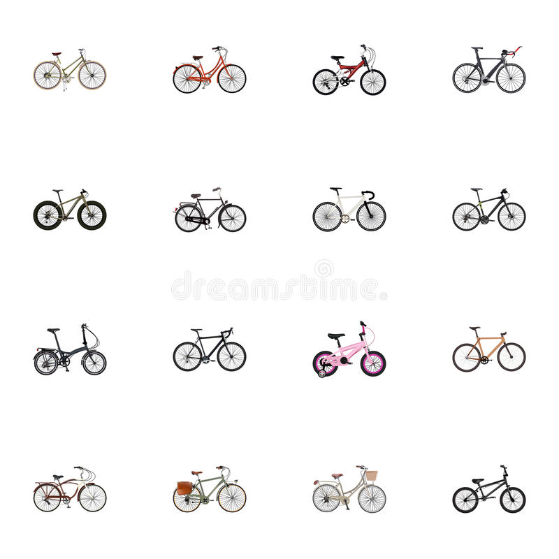 Realistyczny działanie, Bmx, Stażowy pojazd I Inni Wektorowi elementy, Set Realistyczni symbole Także Zawiera Cyclocros fotografia royalty free