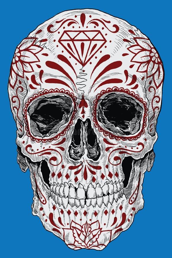 Realistyczny dzień Nieżywa Cukrowa czaszka ilustracji