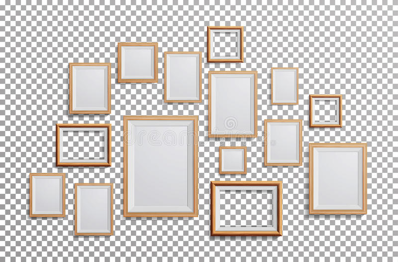 Realistyczny fotografii ramy wektor Ustalony kwadrat, A3, A4 rozmiarów obrazka Lekka Drewniana Pusta rama, Wiesza Na Przejrzystym ilustracja wektor