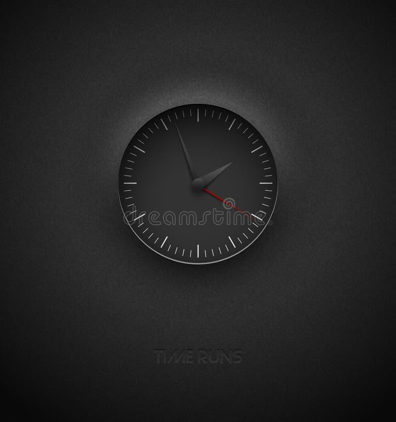 Realistyczny głęboki czarny round zegar ciie za textured plastikowym ciemnym tle na Biała prosta nowożytna round skala Wektorowy  royalty ilustracja