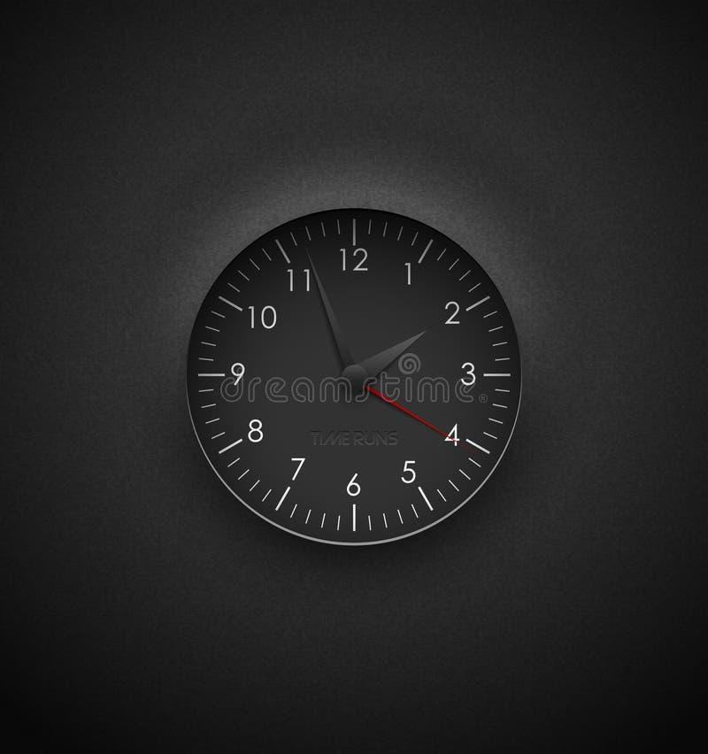 Realistyczny głęboki czarny round zegar ciie za textured plastikowym ciemnym tle na Białe round liczby i skala Wektorowy ikona pr royalty ilustracja