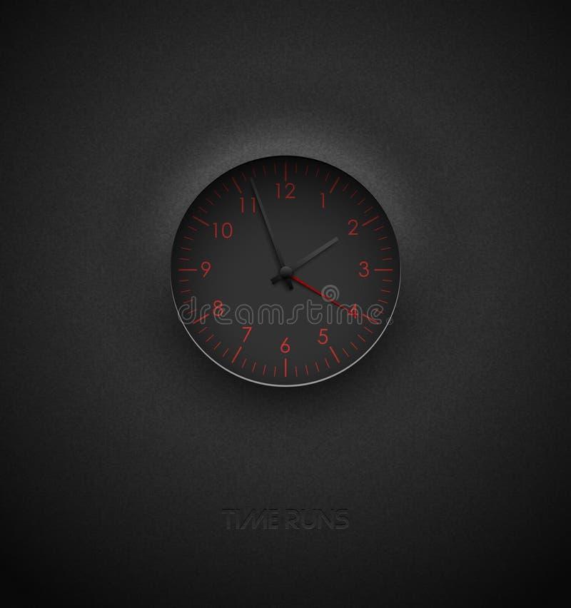 Realistyczny głęboki czarny round zegar ciie za textured plastikowym ciemnym tle na Czerwona round skala, liczby i Wektorowy ikon royalty ilustracja