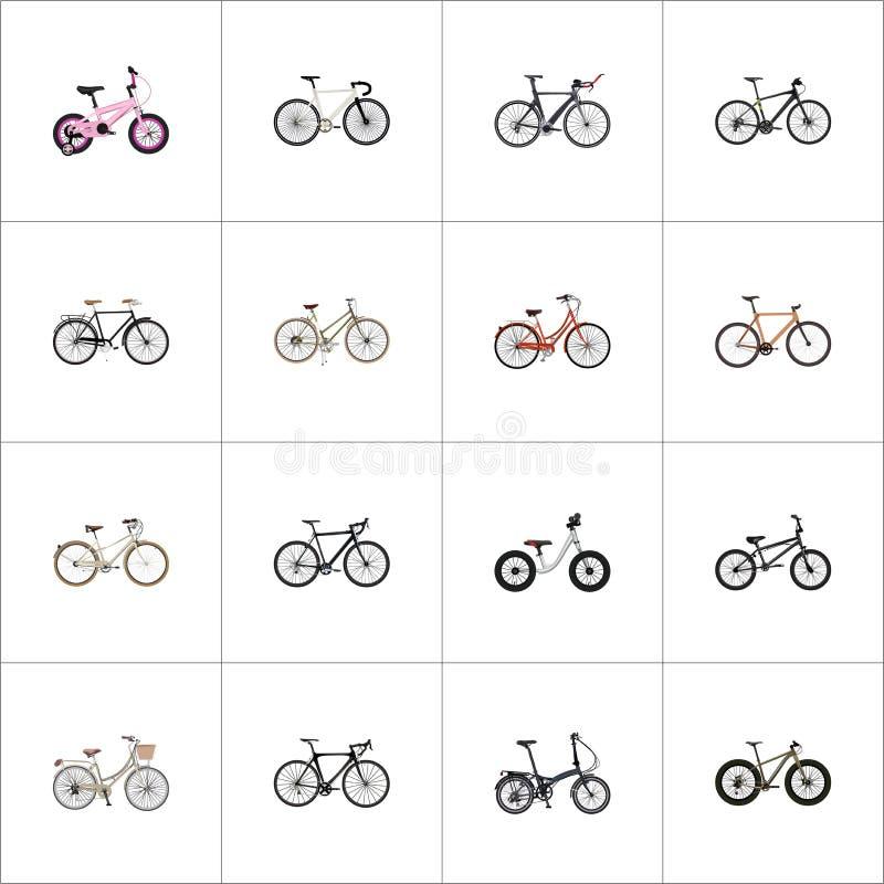 Realistyczny gatunek, Cyclocross przejażdżka, Składa cyklu wektoru elementy Set rowerów Realistyczni symbole Także Zawiera zdjęcie stock