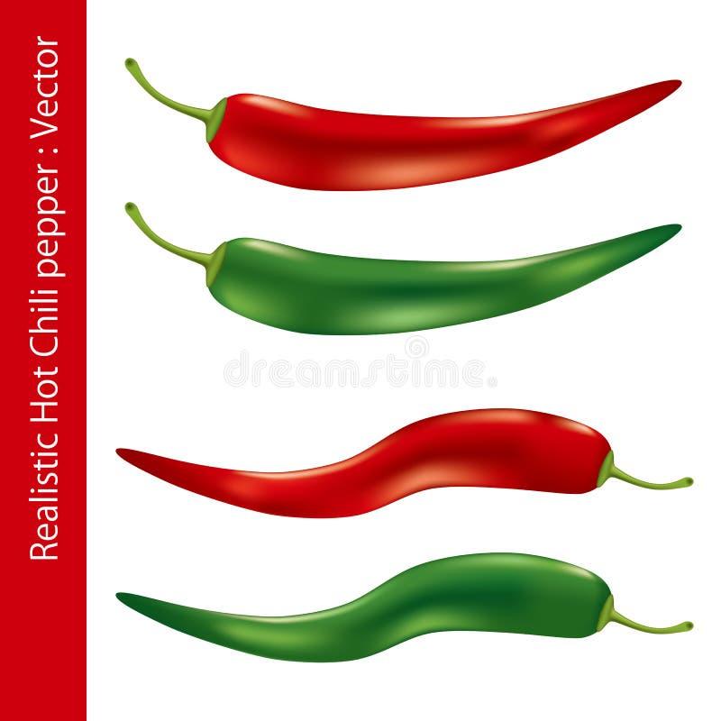 realistyczny gorący chili pieprz ilustracji