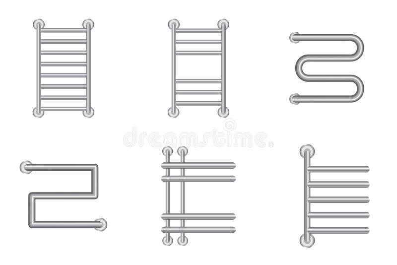 Realistyczny Gorący ręcznikowy poręcz lub grzejne bateryjne kaloryferowe ikony ustawiający ilustracja wektor