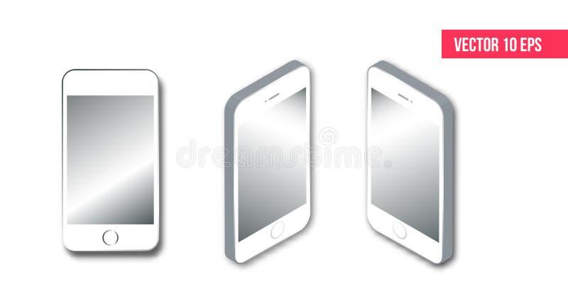 Realistyczny isometric smartphone, Odosobniony telefonu komórkowego mockup smartphone ilustracji 3d wektorowy isometric płaski pr ilustracji