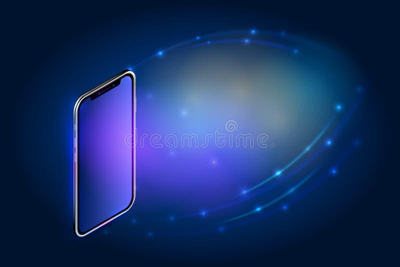 Realistyczny isometric smartphone szablonu biznesu pojęcie Telefon komórkowy z pustym ekranem dotykowym na abstrakcjonistycznym t ilustracji