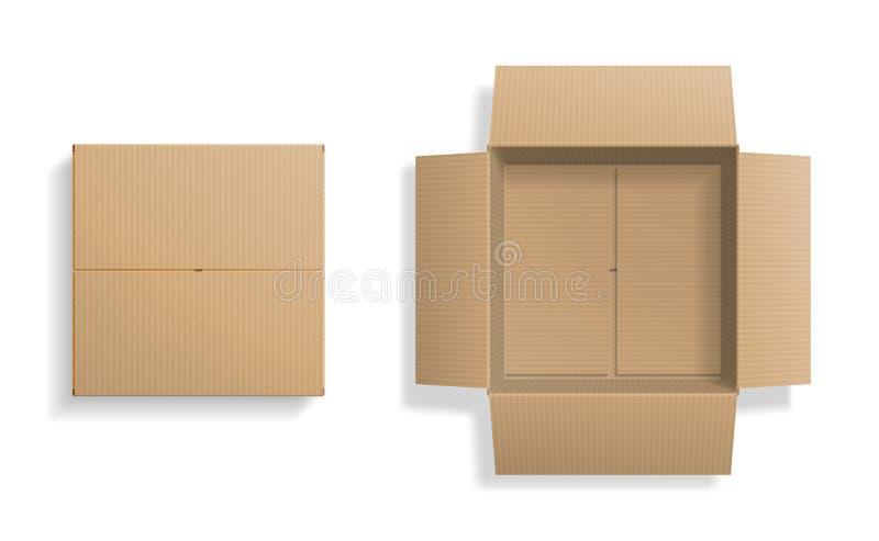 Realistyczny kartonu setu, otwierającego i zamykającego odgórny widok, ilustracja wektor