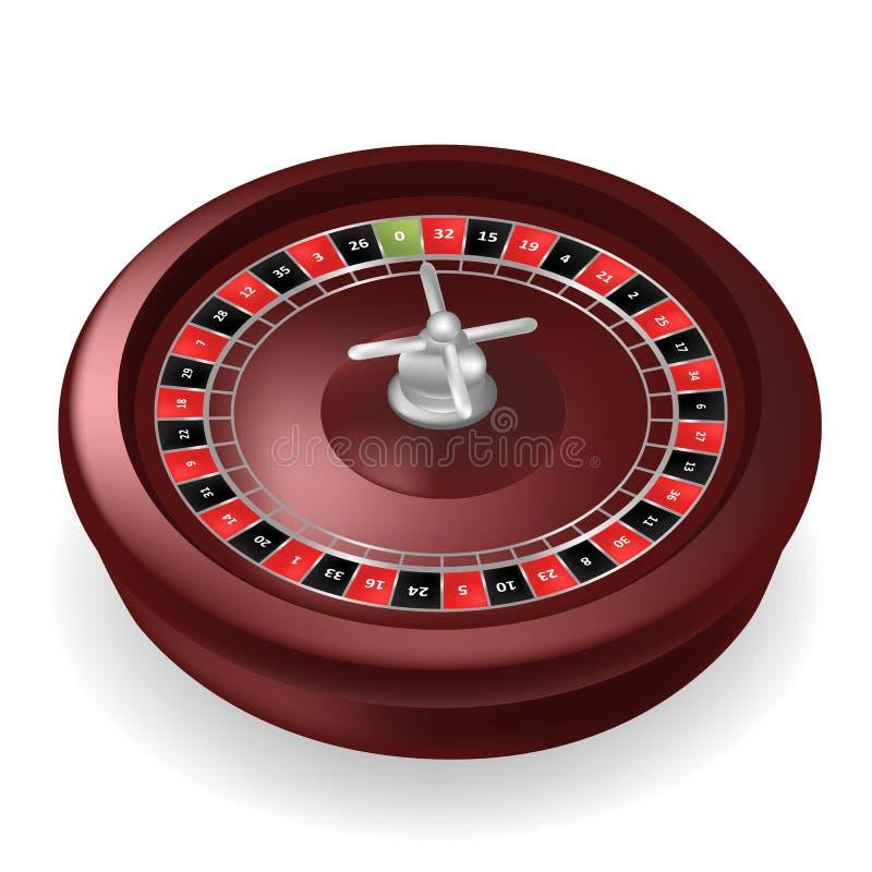 Realistyczny kasynowy ruletowy koło odizolowywający na białym tle 3D Realistyczna Wektorowa ilustracja Online kasynowy ruletowy u ilustracja wektor