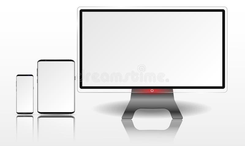 Realistyczny komputer, pastylka i telefon komórkowy z Białym tapeta ekranem, ilustracji