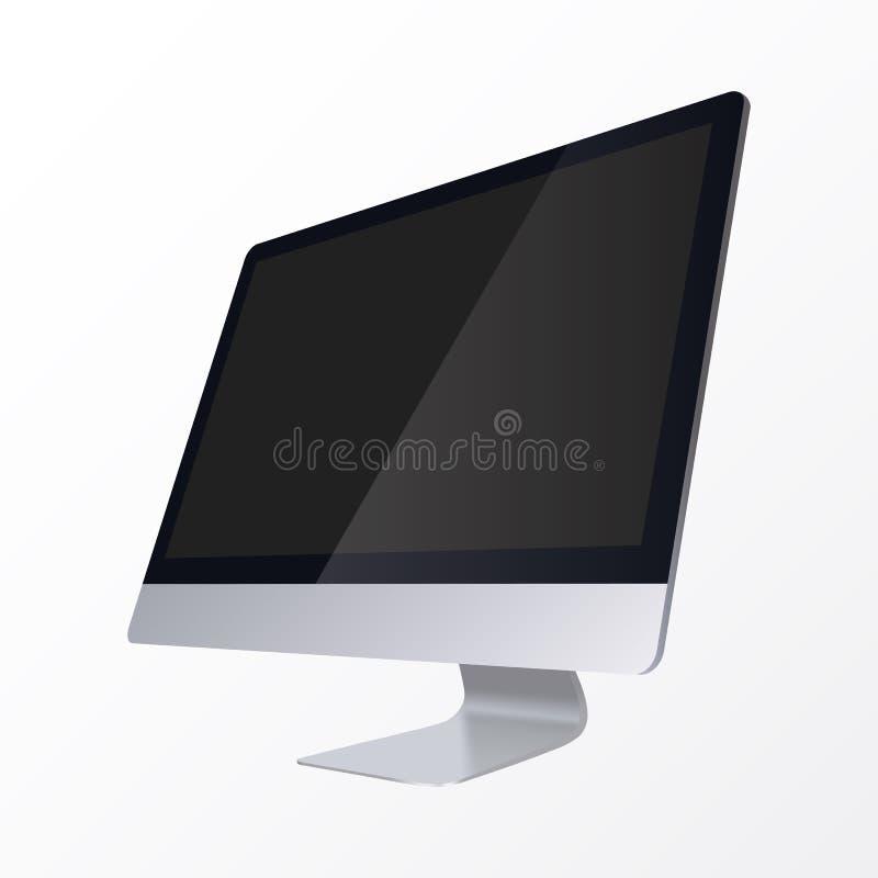 Realistyczny Komputerowy pokaz odizolowywający na białym tle Komputerowy pokaz z pustym czerń ekranem royalty ilustracja