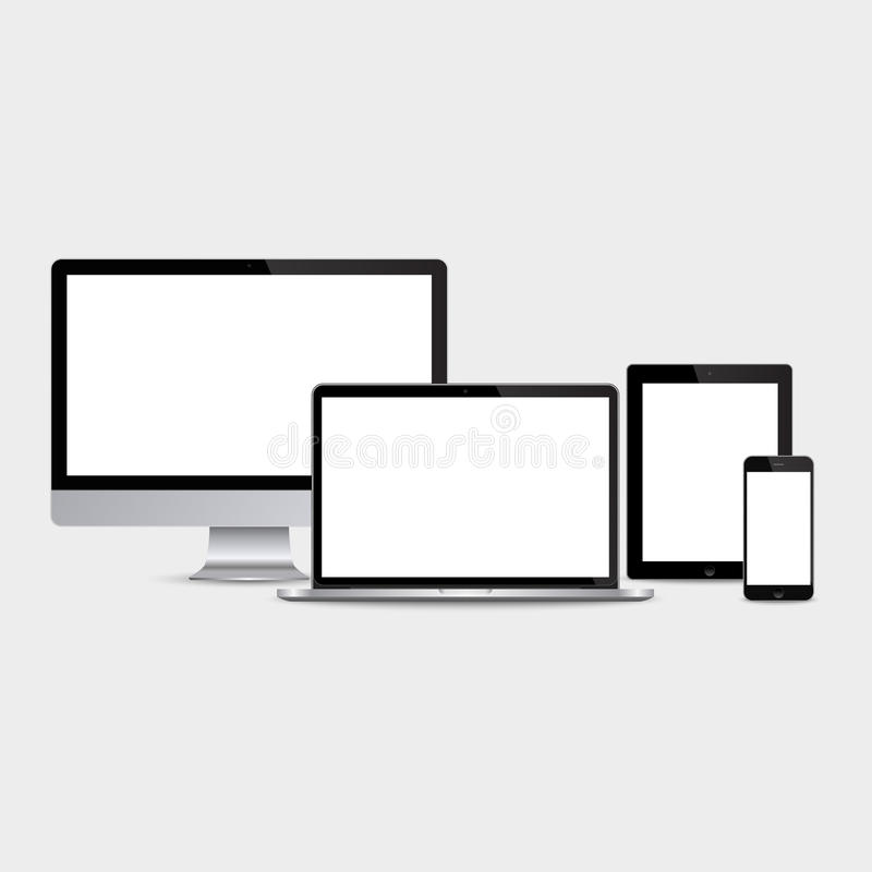 Realistyczny komputeru, laptopu, pastylki i smartphone set, ilustracji