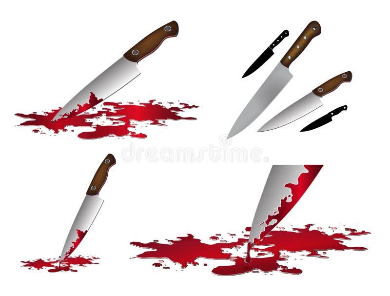 Realistyczny krwisty nóż Nóż z krwionośnym wektorowym ilustracja setem royalty ilustracja