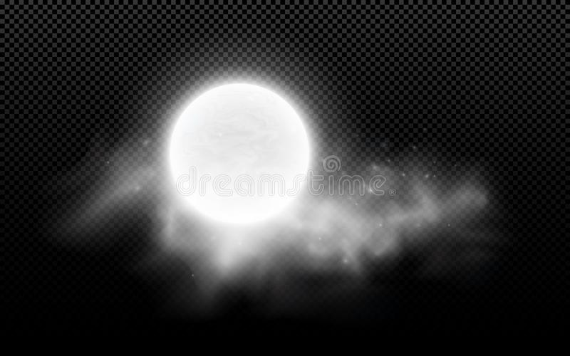 Realistyczny księżyc w pełni z chmurami odizolowywać na przejrzystym tle Gwiaździsta chmura ciemna noc Rozjarzona dojna księżyc W ilustracji