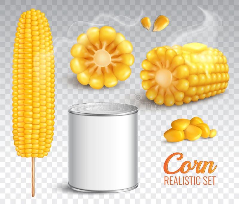 Realistyczny Kukurydzany Przejrzysty set royalty ilustracja