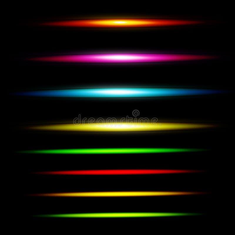 Realistyczny lekki świecenia błyskotanie, główna atrakcja set Kolekcja piękni jaskrawi obiektywów racy ilustracji