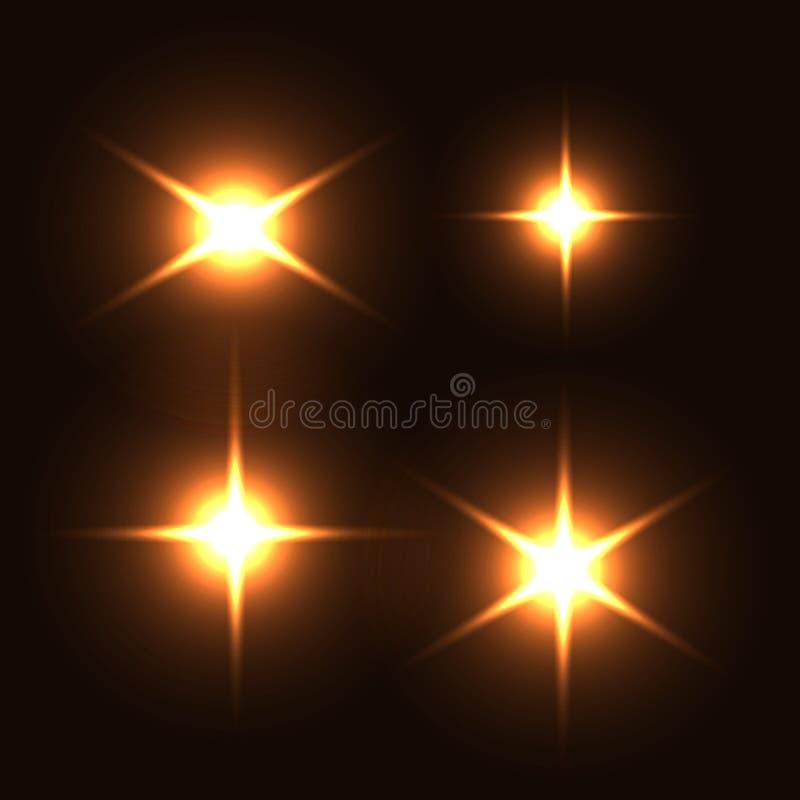Realistyczny lekki świecenia błyskotanie, główna atrakcja set Kolekcja piękni jaskrawi obiektywów racy Oświetleniowi skutki błysk ilustracja wektor