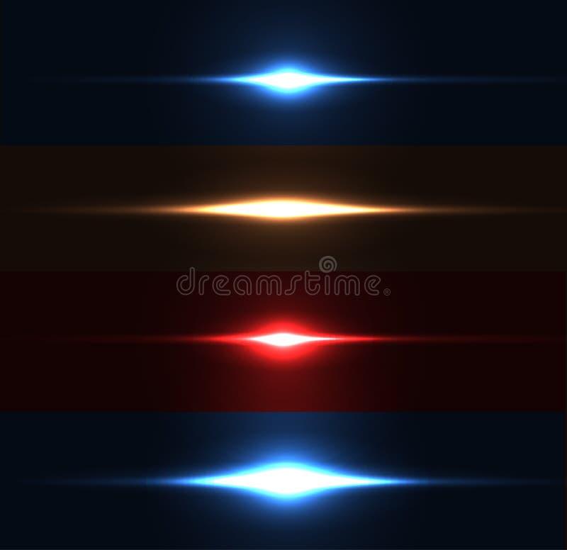 Realistyczny lekki świecenia błyskotanie, główna atrakcja set Kolekcja piękni jaskrawi obiektywów racy Oświetleniowi skutki błysk ilustracji