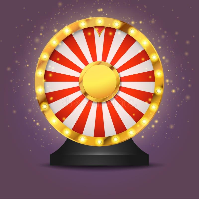 Realistyczny loteryjny pomyślności koło odizolowywający nad ciemnym tłem ilustracja wektor